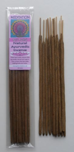 Meditation - Natural Ayurvedic Healing Incense Sticks - Sri Tulsi - 20 grams